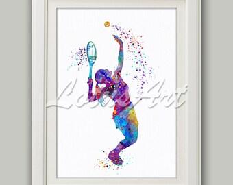 Girl Tennis Player Watercolor Print Tennis Wall Art Sports Poster Nursery Wall Art Girls Room Wall Art Kids Gifts Home Decor Wall Hanging