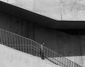 Man On Stairs Print, Black And White Minimal Photography, Black White Minimal, Minimalist Photo, Minimalist Photography, Stairs Photo