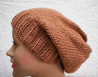 Camel brown slouchy hat, toque, brown hat, slouchy beanie, winter hat, mens womens knit hat, chemo cap, camel brown knit hat, brown slouchy