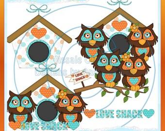 Love Owls Tangerine Color 1 Clipart (Digital Download)