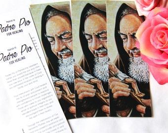 Padre Pio Bookmarks, Saint Padre Pio, Padre Pio of Pietrelcina, Bookmarks, Religious Bookmarks, Catholic Bookmarks, Padre Pio, Set of 5