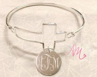 Monogram Bangle, Monogram Bracelet, Monogram Cross Bracelet, Monogram Cross Bangle