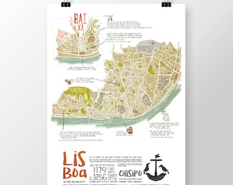 Original PORTUGUESE LISBON MAP Wall Art Printing Poster Illustration Print Drawings Graphic Design Art Work Home Decor