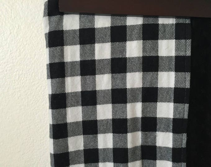 Black and white buffalo plaid minky lined crib blanket