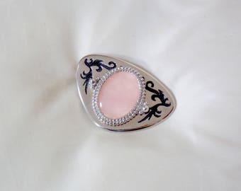 VINTAGE: Silver Retro Rose Quartz Belt Buckle Design Swirly Swirls Pink Pastel Cute Accessory