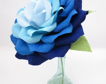 Giant Paper Flower/ Ombre Paper Rose/Wedding Decoration/ Wedding Bouquets/ Table Centerpiece/ Party/ Baby Showers/ Bridal Showers/ Blue Rose