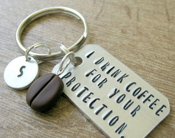 Personalized Coffee Lover's Keychain, Coffee Keychain, I Drink Coffee for Your Protection, Coffee bean bead, add initial disc