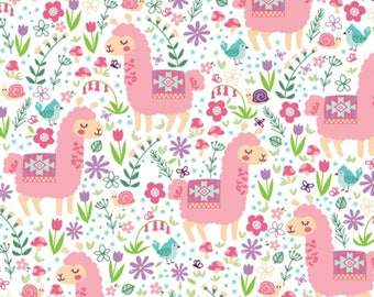 Pink Llama White Background Anti-pill Fleece #WFP46334-1 From Baum Winter Fleece Collection 100% Polyester, 58/60 inches wide