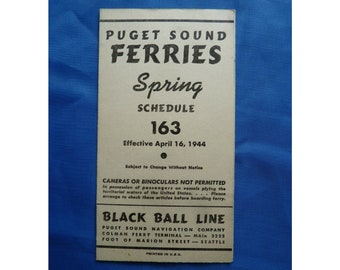 All Aboard, Seattle Sailing! Puget Sound USA Vintage Ferry Sailing Guide, 1944  Vintage Black Ball Line Guide