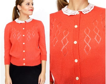 Vintage 1980s Salmon Pink Cardigan with Lace Collar by Esprit | Small
