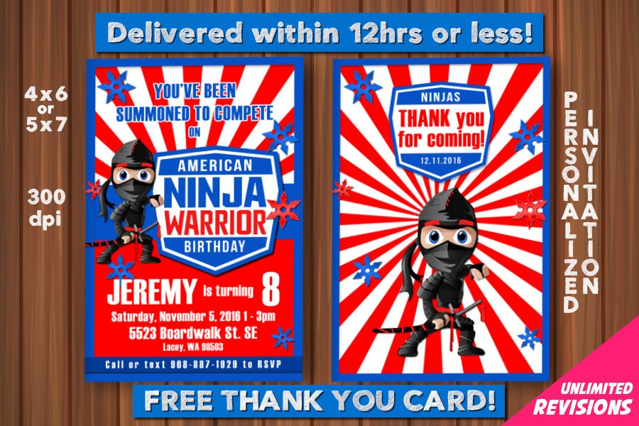 American Ninja Warrior Invitation with FREE Thank you Card
