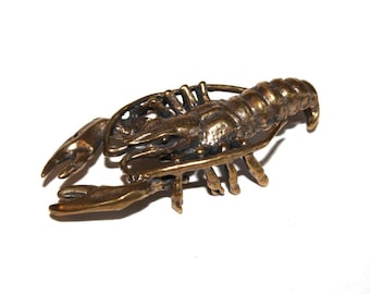 crayfish -  statuette of bronze,  metal figurine