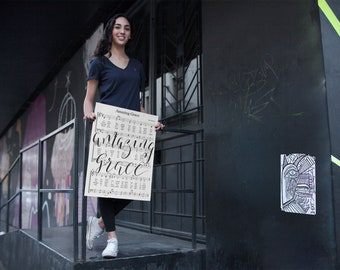 Amazing Grace Calligraphy Sheet Music on Canvas - Hand Lettered in Black Modern Calligraphy Style