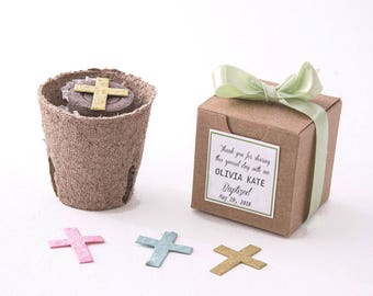 Plantable Seed Paper Cross Flower Pot Favors - Baptism Favors, Christenings, First Communions - Personalized for Baby Boys & Baby Girls