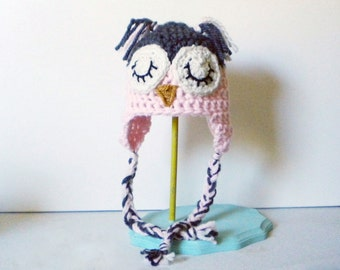 Crochet Owl Hat in Soft Pink and Gray - crochet animal hats for girls - crochet animal hats for boys - crochet owl hat for baby girls