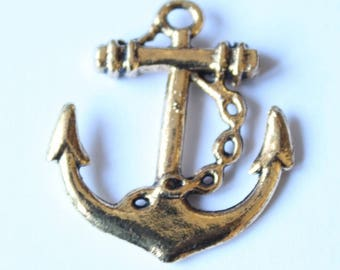 28 mm, set of 2 Gold anchor charm