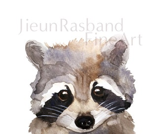 Baby Raccoon Print - Original Watercolor Fine Art Print, nursery decor, animal art print, wall art, watercolor, raccoon painting