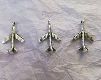 3 Airplane Charms - for Jewellery Making and Crafts - 3 x Tibetan Silver Airplane Charms