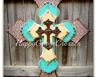Wall CROSS - Wood Cross - X-Large - Stain with Brown Damask, Antiqued Turquoise & Beige, with Iron Cross
