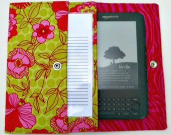 iPad Mini, Kindle, Nook, Kobo, Sony Reader, Samsung Galaxy, Small eReader Padded Case (READY TO SHIP) - Pink & Green Floral