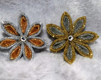 Silver and Gold Small Kanzashi Flower