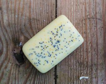 Lemon Poppy Seed, Handmade Soap - Essential Oil Soap - Turmeric Coloring