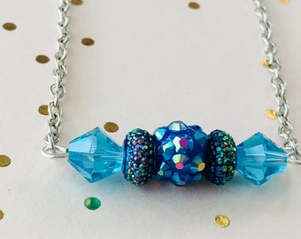 Bar Necklace, Turquoise Blue Beaded Bar Necklace, Sparkly Jewelry, Blue Jewelry, Iridescent Jewelry, gifts under 20 dollars