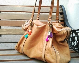 Tassel bag charm, Tassel keychain, Boho purse charm, Summer jewelry, Tribal jewelry, Coin Jewelry, Tribal fusion, Beach accessories