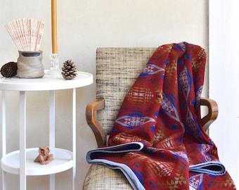 Wool Blanket Native American Inspired Design Deep Red Blue Brown & Gold Lightweight Throw