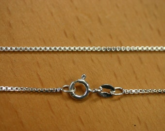"1.4mm Solid Sterling Silver Italian Made Box Chain Made in Italy 16"" Stamped 925"