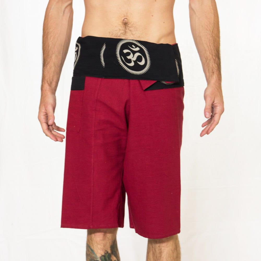 Red Thai Pants Yoga Pants Tribal Pants Mens Yoga Pants