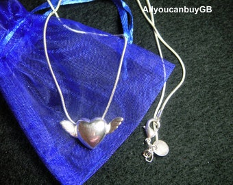 Winged Heart Silver Necklace. 925 Sterling Silver Necklace