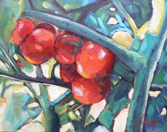 """Small still life, Kitchen Art, Original Oil Painting, """"Vine Candy"""" 6x8 OOAK, Daily Painting, Free Shipping in US"""
