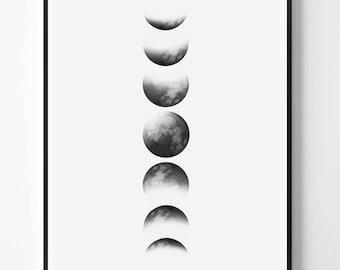 Moon Print, Black and White Photography, Minimal photo, Minimalist, Nature Wall Art, Moon Photo, Abstract Print, Scandinavian Printable Art