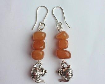 Aventurine earrings, teapot earrings, 'nice cup of tea' earrings, aventurine gemstone earrings, sterling silver earrings.