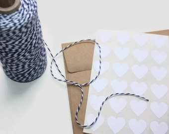 24 White Heart Stickers | 3/4 inch stickers | Small Heart Stickers | Favor Packaging | Heart Envelope Seals