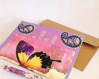 friend greeting card, friend thank you card, pink notecard, butterfly appreciation card