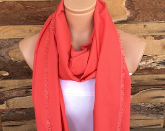 Light Red Cotton Scarf, Mother Day Gift, Spring Scarves, Women Summer Shawl, Fashion Gifts For Mom, Holiday Accessories, Ladies Scarf