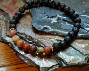 Jasper Picasso 6mm Diffuser Bracelet with Lava Beads