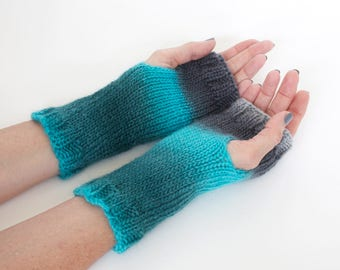 Knit fingerless gloves, ombre gloves, wool and silk gloves, hand warmers, hand knit wrist warmers, hand knit gloves, charity donation