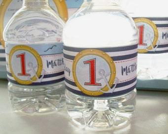Bottle Labels - Nautical Water Labels - Sailor Birthday Water Bottle Wraps - Sailor Water Bottle Sticker - Custom Water Bottle Wrapper