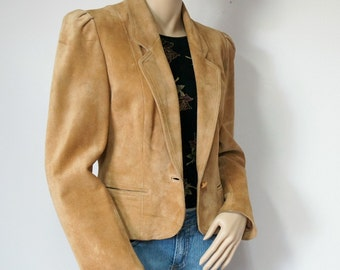 Vintage Suede Jacket Golden Brown Crop Leather Jacket Butterscotch High Sierra Size Small Tagged Size 9 - 10