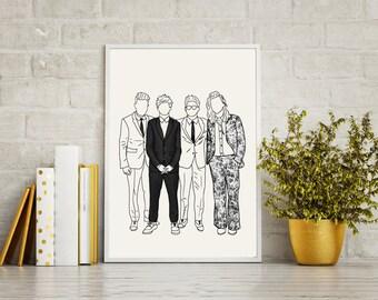 Ilustración de impresión AMAs dibujo retrato arte interiores decoración mate brillo una dirección Harry estilos Louis Tomlinson Niall Horan Liam Payne