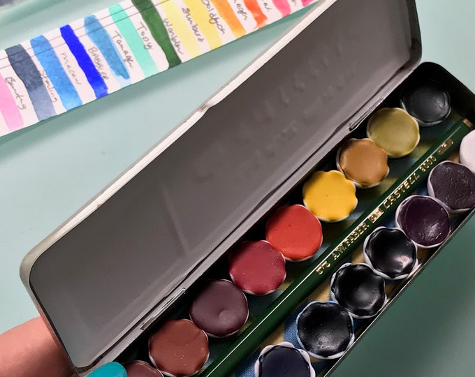 Limited Edition Watercolor Handmade Paint 18 ceramic half pans  watercolor paint set in vintage Pencil Tin  FREE Shipping in U.S