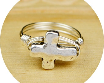 Cross Wrapped Ring- Sterling Silver, Yellow or Rose Gold Filled Wire/Silver Plated Cross Bead- Size 4 5 6 7 8 9 10 11 12 13 14 1/4 1/2 3/4