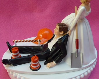 Wedding Cake Topper Construction Worker Road Crew Themed w/ Bridal Garter Highway Work Maintenance Detour Cones Groom Bride Humorous Funny