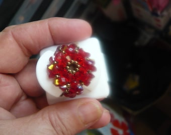 Pretty 1 poppy ring red swarovski crystal and bronze ref ac5