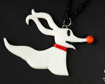 Zero necklace, The Nightmare Before Christmas necklace, Tim Burton jewelry, cult movie necklace, Tim burton necklace, halloween necklace