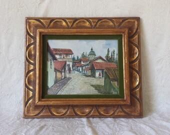 1940's Ecuadorean Art J. Salguerot Original Framed Oil on Board Painting