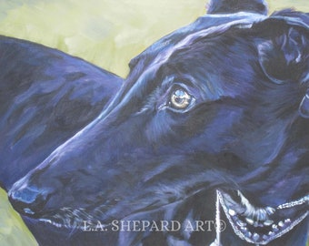 Greyhound portrait art canvas PRINT of LA Shepard painting 8x10 dog art